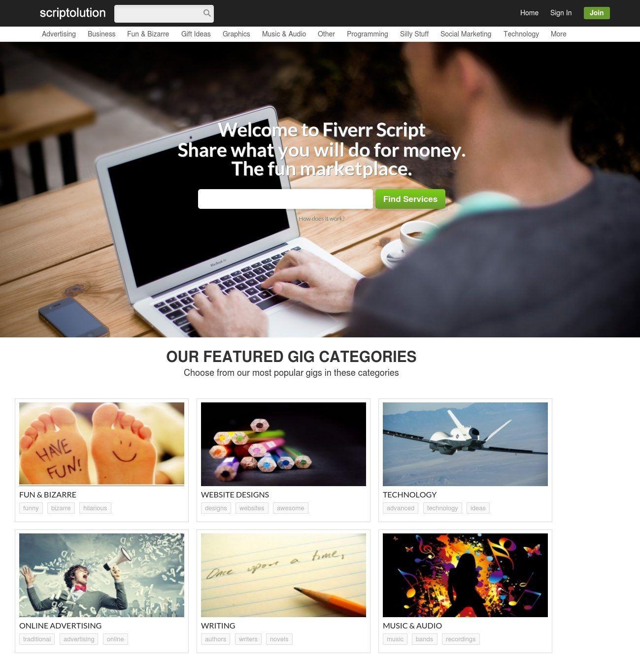 Fiverrscript Fiverr Clone Script Fiverr Website Design Responsive Theme
