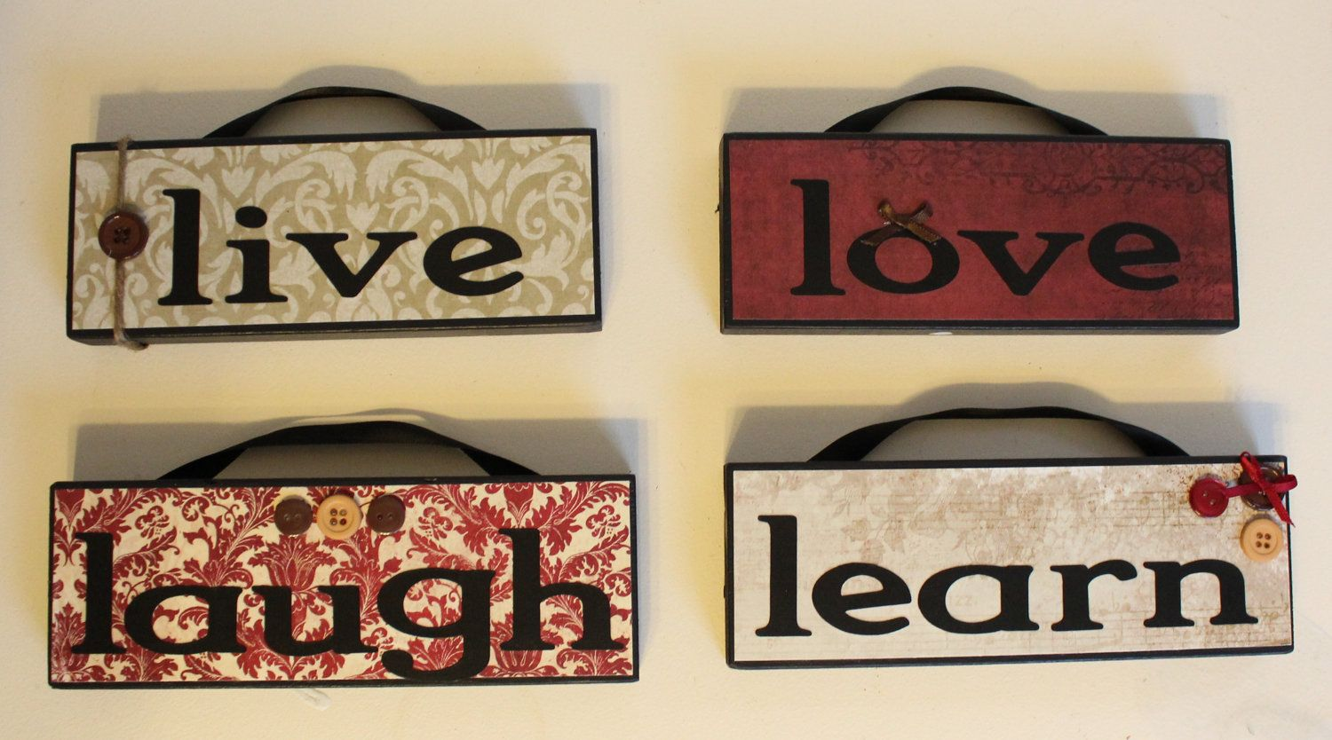 Live Laugh Love Learn Hanging Wood Signs Home Decor