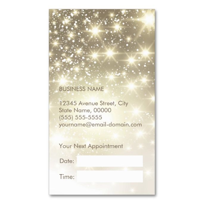 Shiny Gold Glitter Sparkles Appointment Card Appointments - Appointment business card template