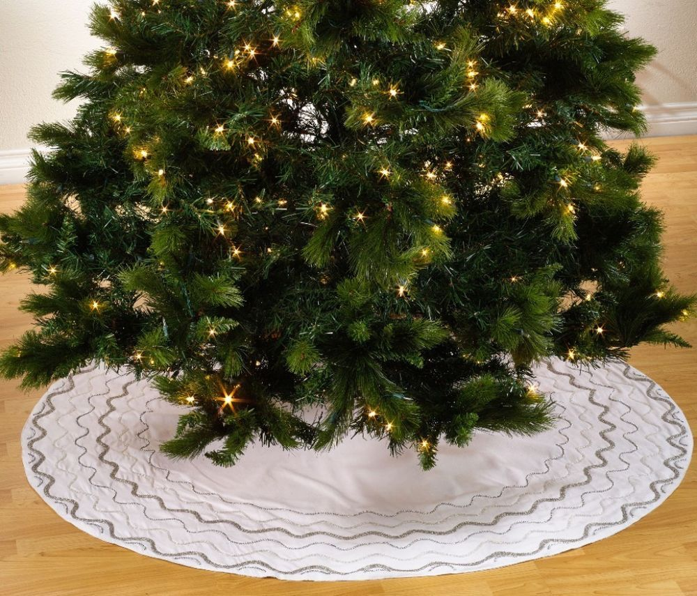 Contemporary Hand Beaded Design Christmas Tree White Skirt Cotton Home Decor