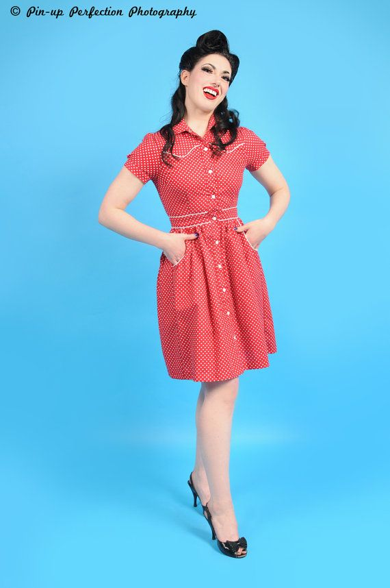 3dbaadf1266 Western Rockabilly Polkadot Vintage Style 40s   50s country girl ...