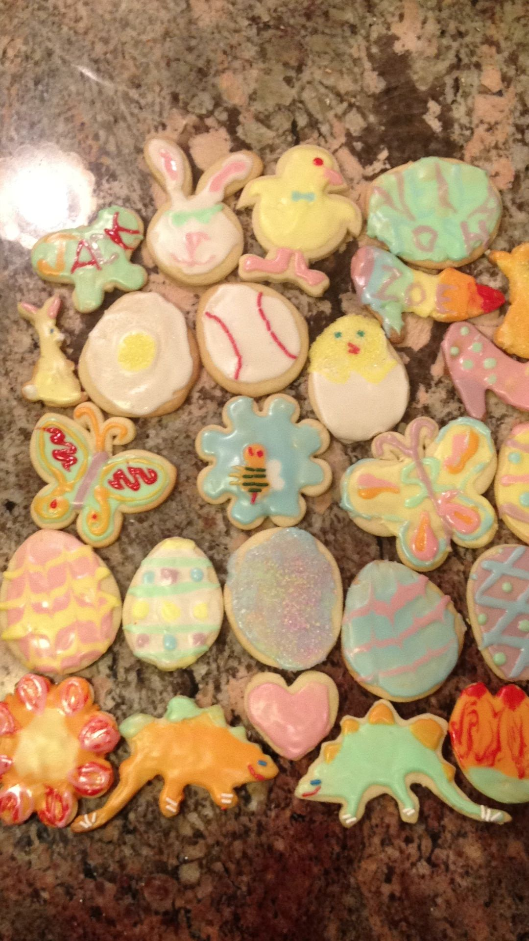 Easter Sugar Cookies homemade and frosted with family.