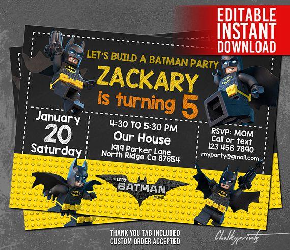 Lego batman invitations lego batman invites lego batman birthday lego batman invitations lego batman invites lego batman birthday party lego batman thank you tag free editable pdf instant download solutioingenieria Choice Image