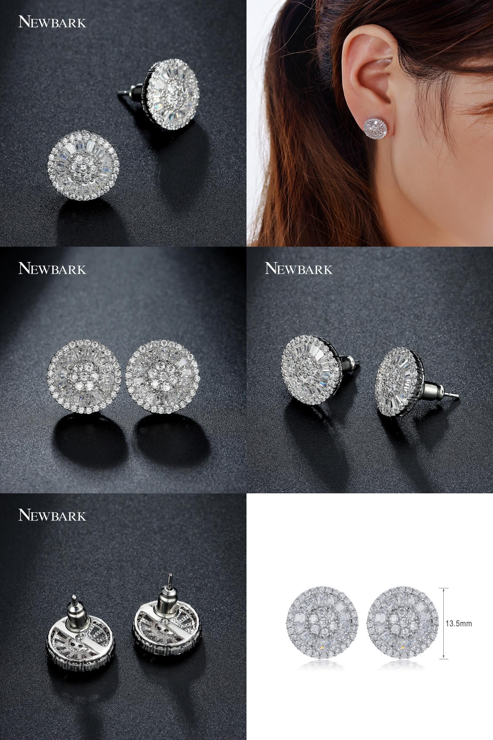 Visit to Buy  NEWBARK Round Stud Earrings For Women Luxury Top Clear  Zirconia Paved d4bb84a34285