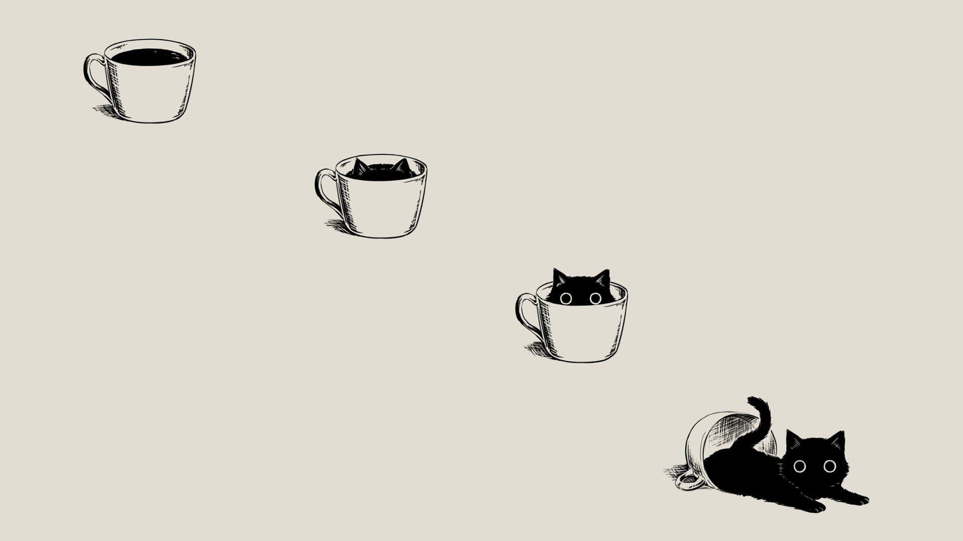 Black Cat On White Cup Clip Art Anime Manga Minimalism Simple Background Coffee Black Cats Beige Cute Cat Wallpaper Cat Wallpaper Desktop Wallpaper Black