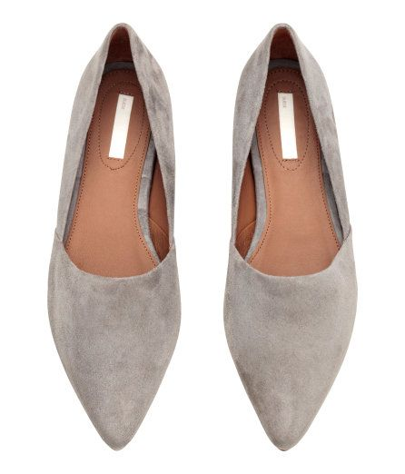 Check this out! PREMIUM QUALITY. Flats with pointed toes. Leather lining, leather insoles, and rubber soles. - Visit hm.com to see more.