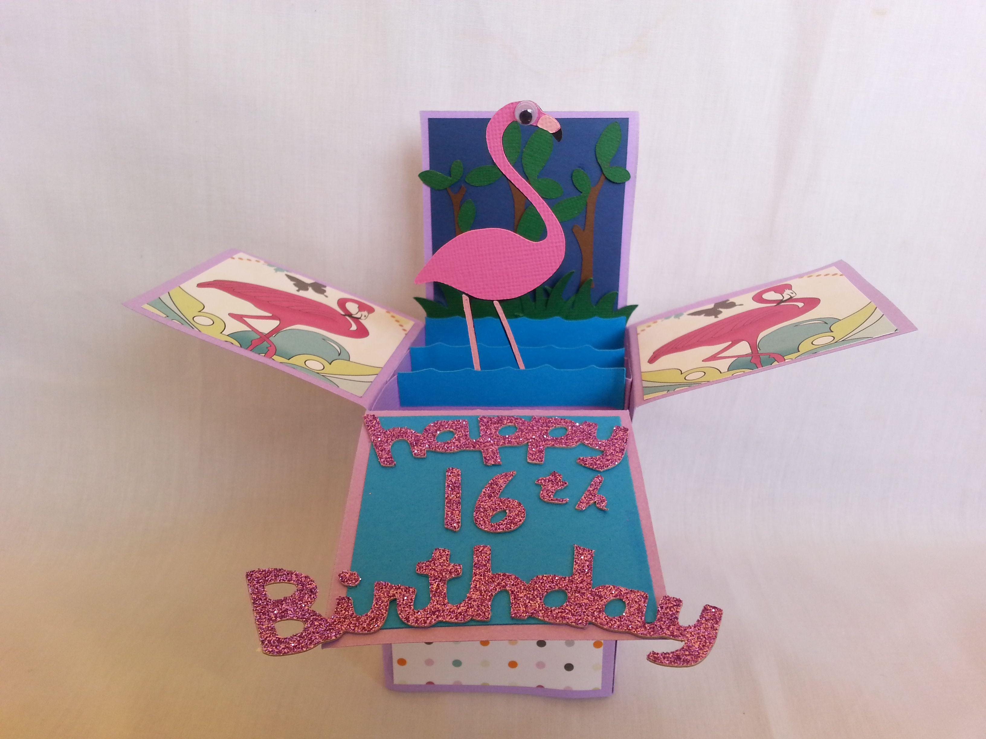 flamingo card nifty fifties cricut cartridge  cards