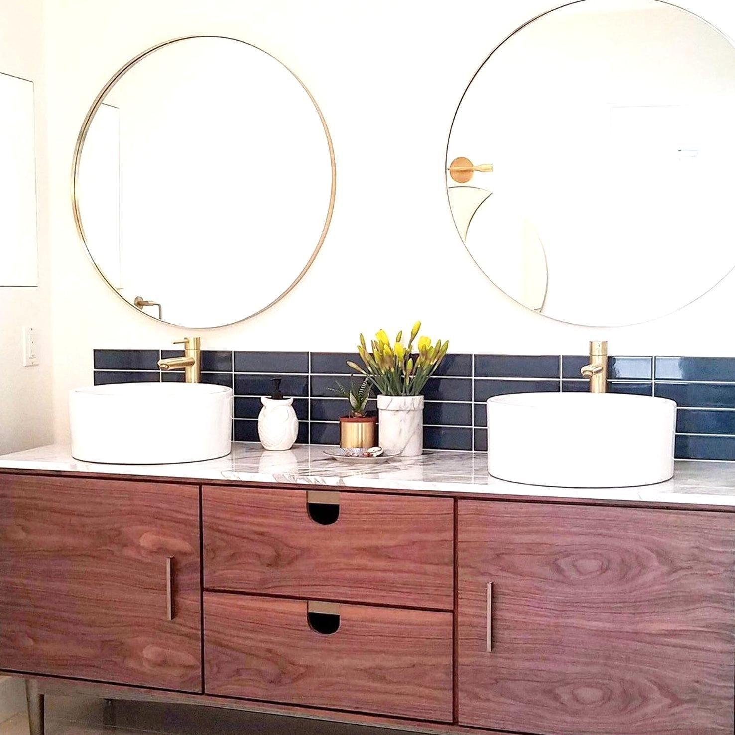 Modern 32 Large Round Mirror Entryway Mirror Console Etsy In 2020 Large Round Mirror Round Mirror Bathroom Mirror Console