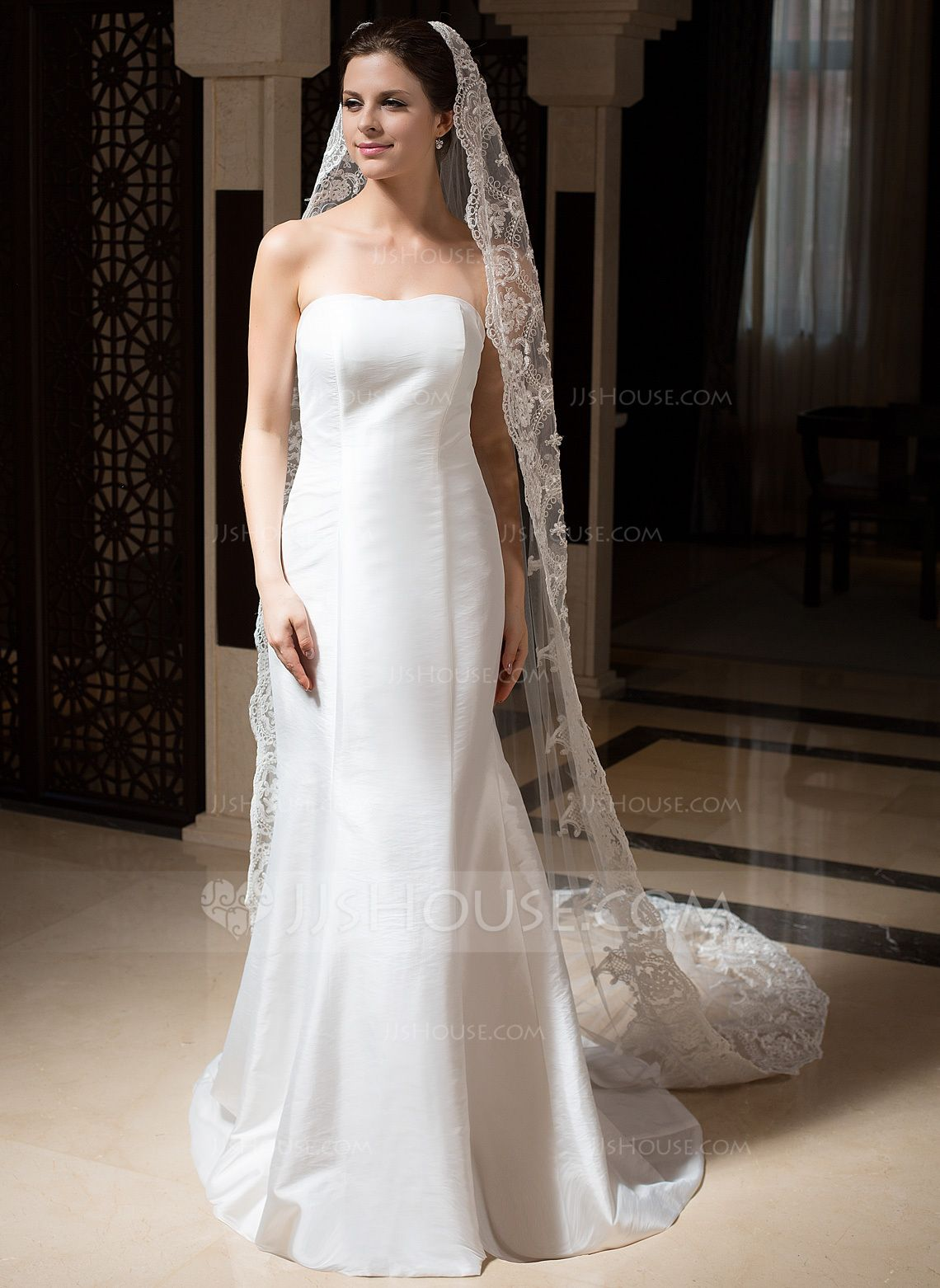 Cathedral bridal veils tulle onetier drop veil lace applique edge