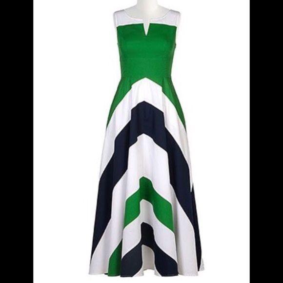 bc14a69a37b New Eshakti Chevron Maxi Dress 16W New Eshakti green