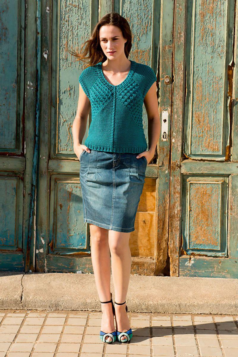 Lana Grossa TOP MIT STERNMUSTER Cashsilk - FILATI No. 49 (Frühjahr/Sommer 2015) - Modell 40 | FILATI.cc WebShop