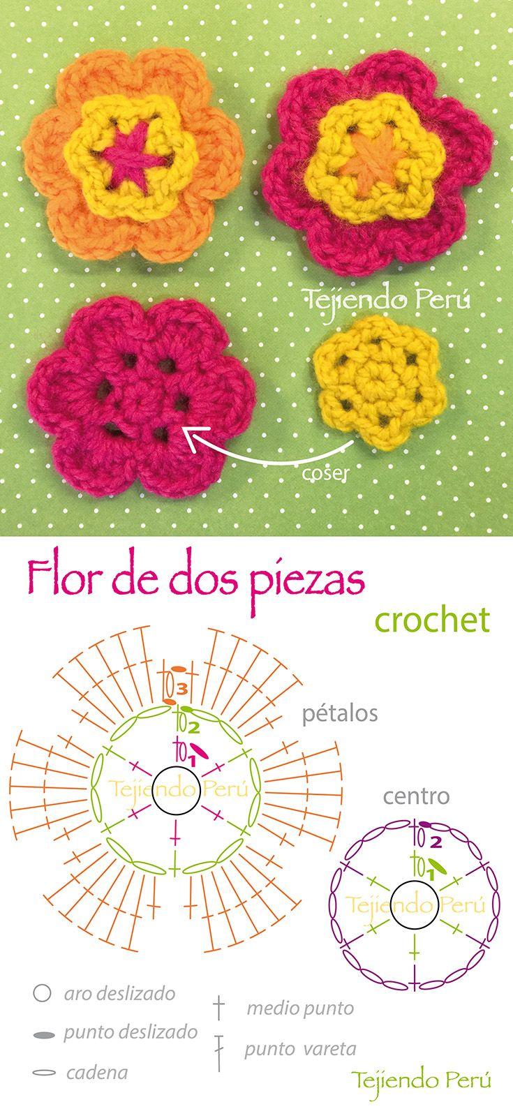 Crochet: diagrama de una linda flor de dos piezas! En el enlace ...