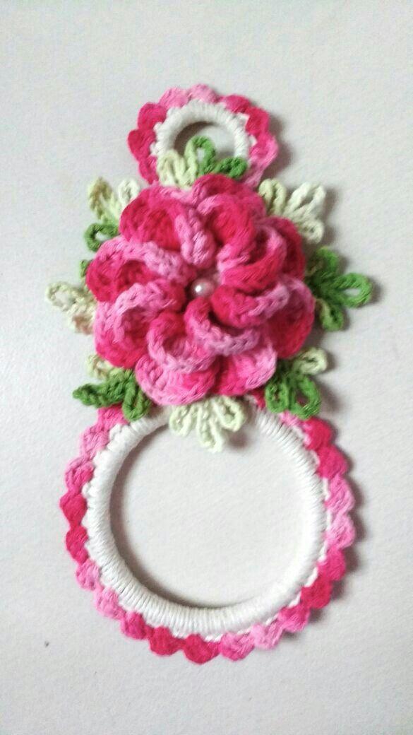 Porta pano de prato de croche | Flores | Pinterest | Tischset und Neid