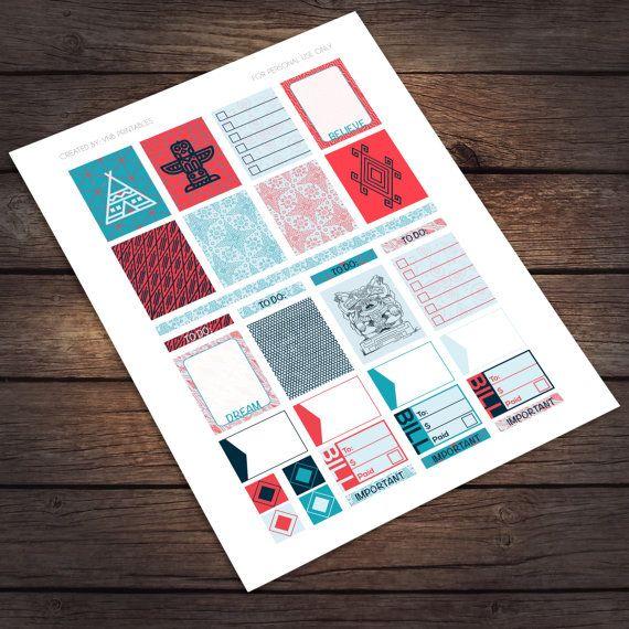 Tribal Printable Stickers for Erin Condren Life Planner / Instant by VNBDesigns