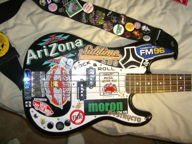 guitar covered in stickers google search guitar in 2019 guitar guitar stickers bass amps. Black Bedroom Furniture Sets. Home Design Ideas