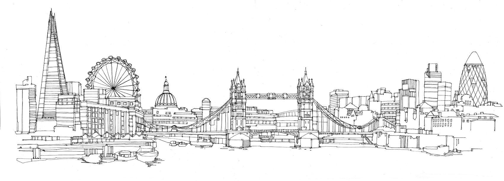 Line Drawing Tattoo Artists London : City drawing google da ara pinterest
