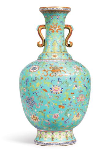 Large Turquoise Ground Bajixiang Cloisonne Imitation Vase