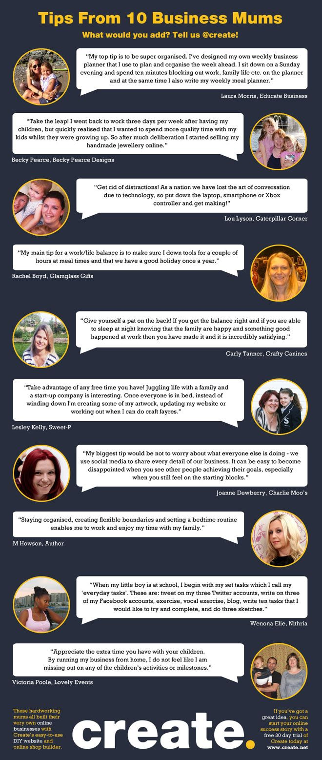 10 Top Tips From Business Mums Infographic Create Net Blog Party Planning Business Business Planner Work Family