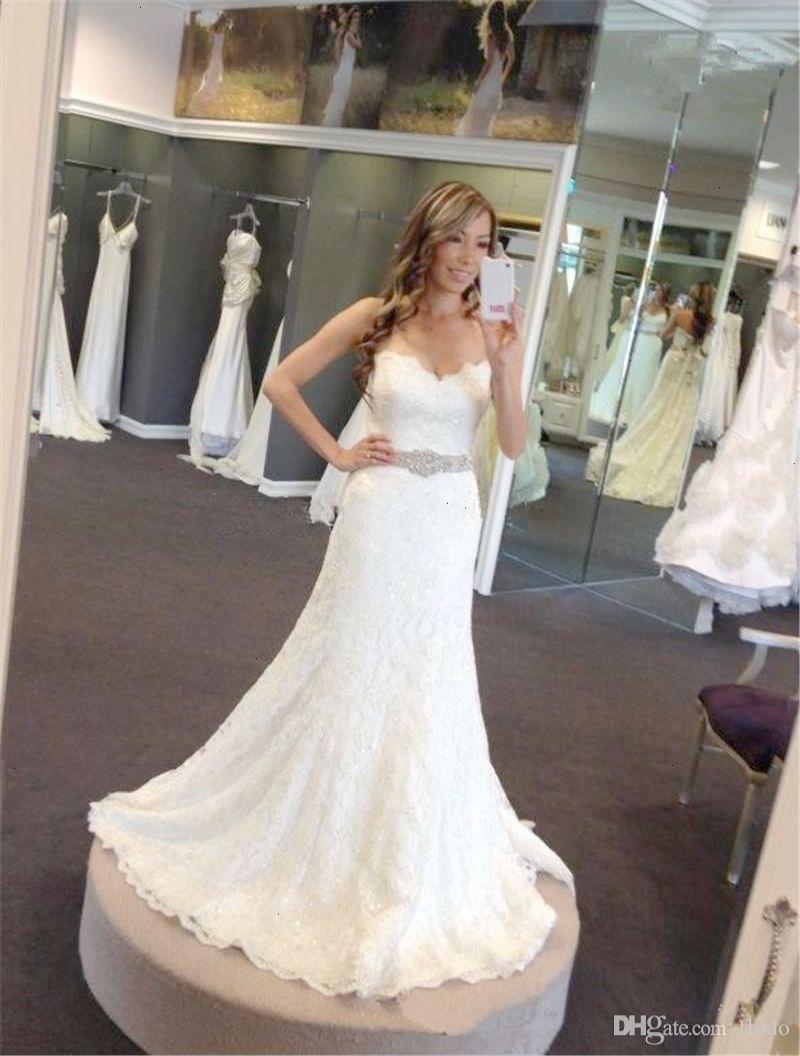 Bling beaded full lace mermaid wedding dresses spring vintage
