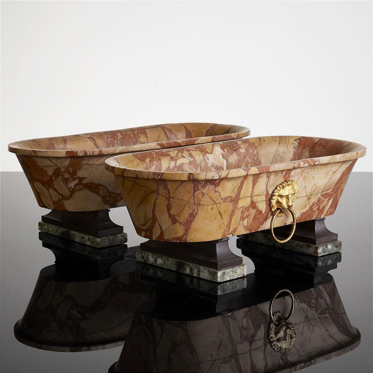 Pair of Roman Grand Tour Breche Marble Bath With Gilt Bronze Lion ...