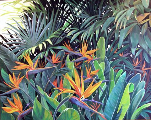 Image result for tropical plants acrylic painting