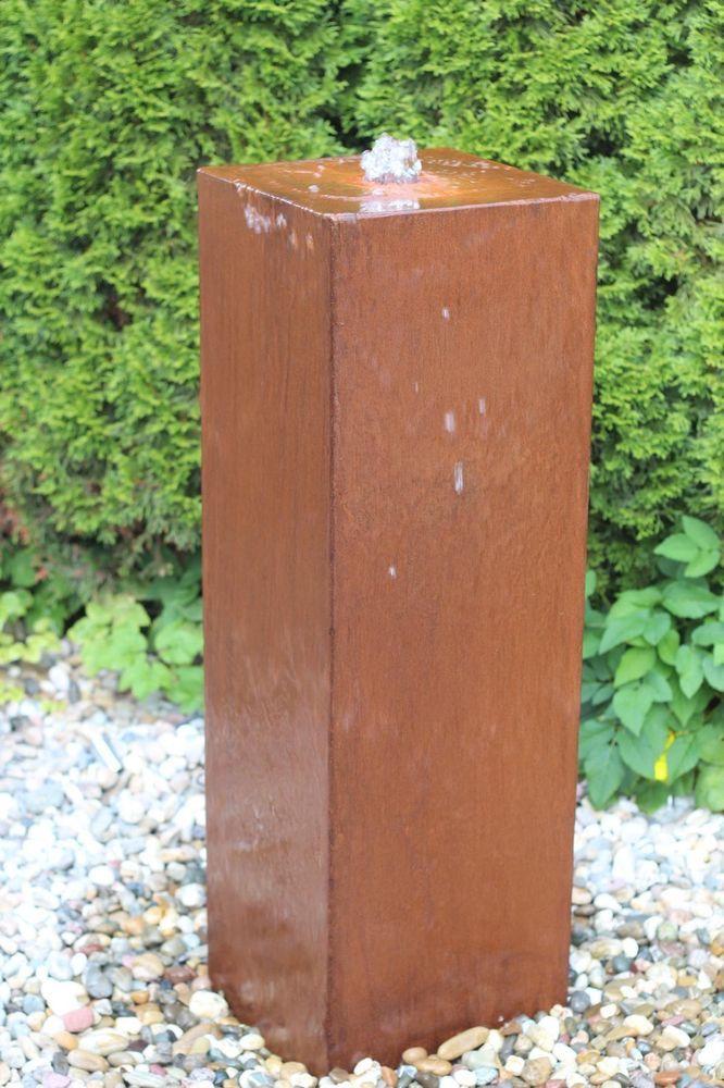 Wasserspiel Kpl. SET: Cortenstahl Säule Edelrost Wasserwand Inkl. Pumpe .