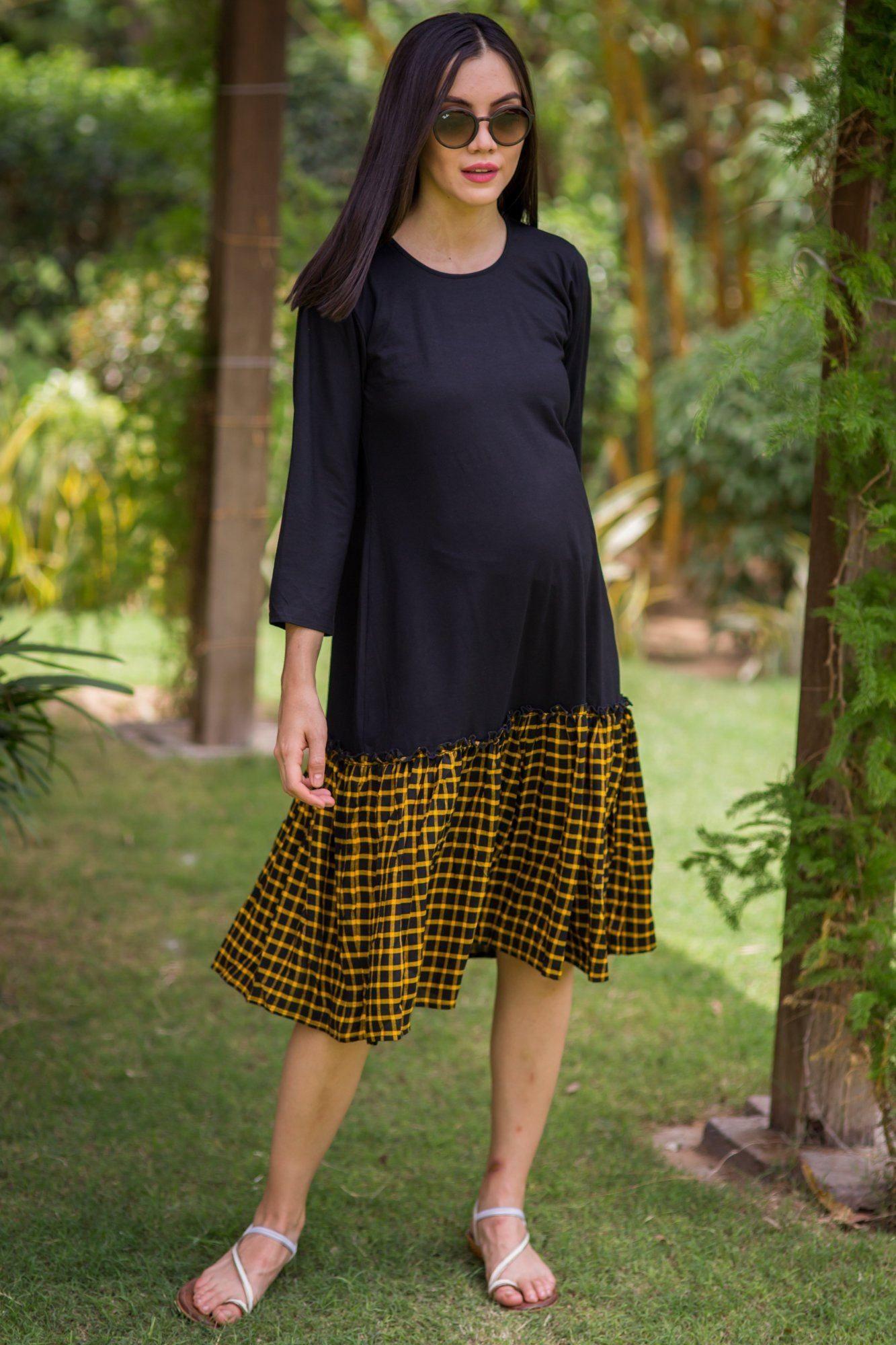 1e281eaa7eed6 Elegant Boho Plaid Frill Maternity Dress | mothersbay | Maternity ...