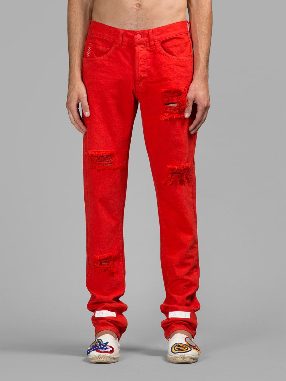 OFF-WHITE C/O VIRGIL ABLO, Destroyed Jeans (Red) | Pants ...