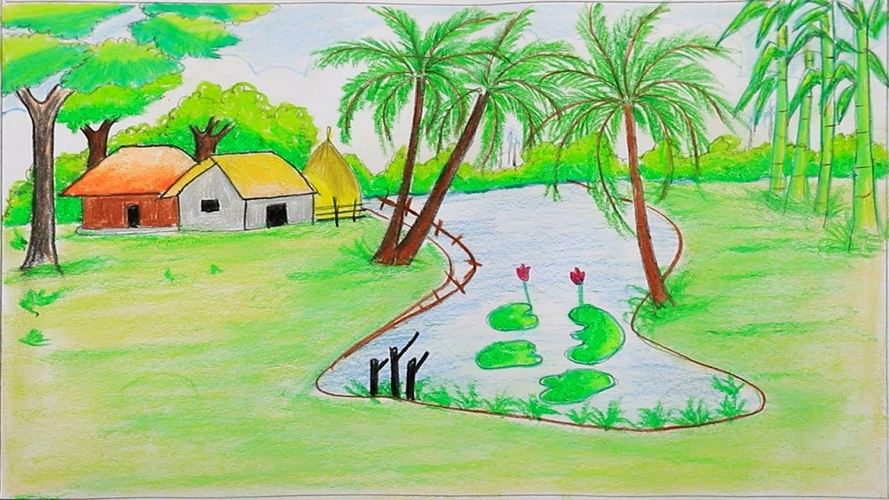 How To Draw A Beautiful Landscape Step By Step With Oil Pastel Very Easy Landscape Steps Oil Pastel Drawings