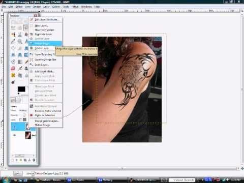 How To Add A Tattoo To Someone Using Gimp Gimp Tattoos Tutorial