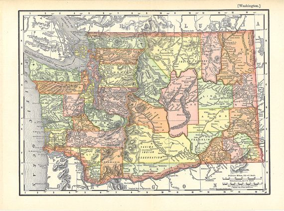 old map of Washington State from 1904 Beautiful Vintage by artdeco     old map of Washington State from 1904 Beautiful Vintage by artdeco  Craft  Supplies   Tools
