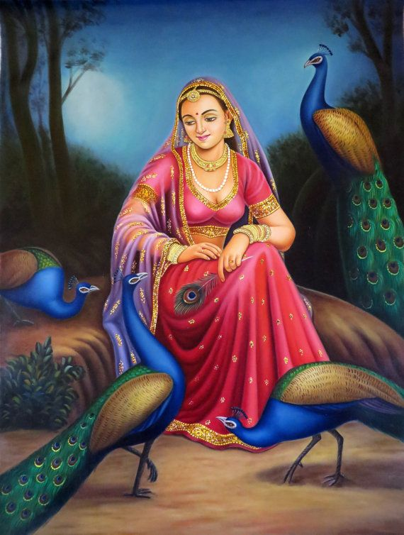 Portrait Of A Rajasthani Queen Maharani Indian Traditional Canvas Oil Painting Only 1 Available Overview Hand India Art Rajasthani Painting Indian Folk Art