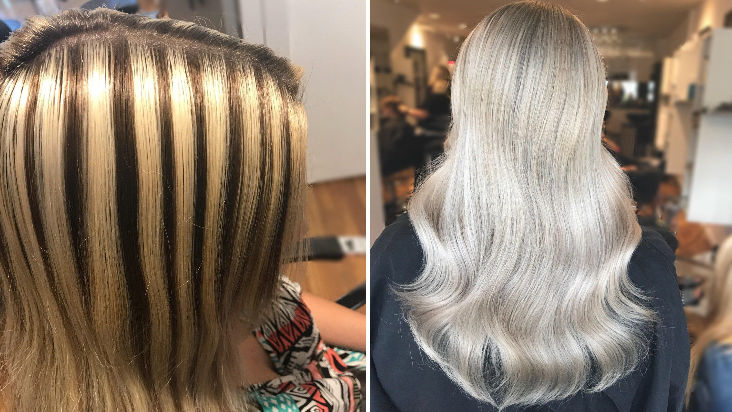 Here S How This Hairstylist Corrected These Chunky Highlights In Just 4 Hours Color Correction Hair Bad Highlights Blonde Hair Blue Eyes Makeup