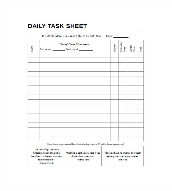 Task List Templates  Free Printable Word Excel  Pdf Formats