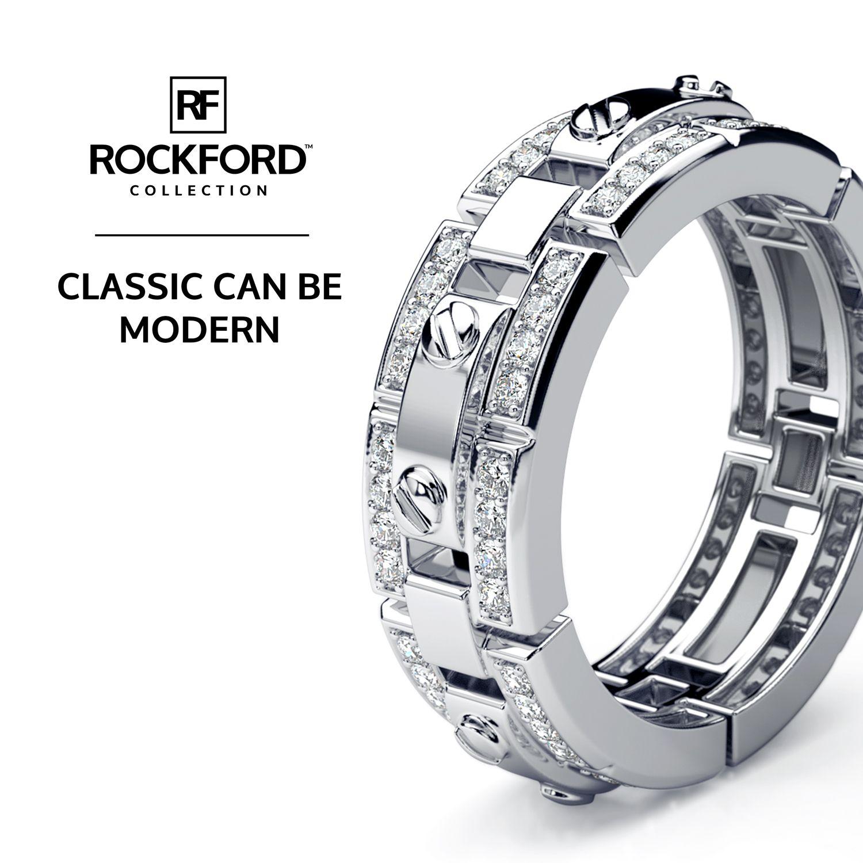REX Mens Gold Wedding Band with Diamonds Diamond wedding