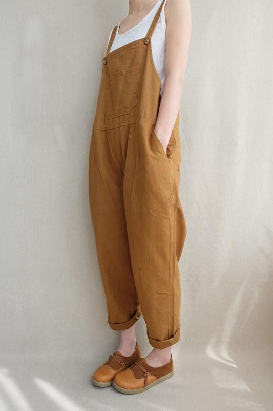 Women Leisure Cotton Jumpsuits Comfortable Dungare
