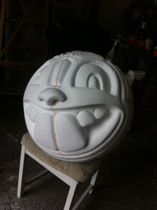 Polystyrene foam carvings and round