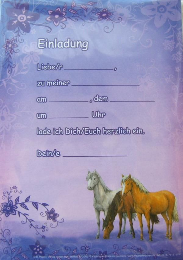 Kostenlos zum pferd kindergeburtstag ausdrucken einladung Vorlagen Einladung