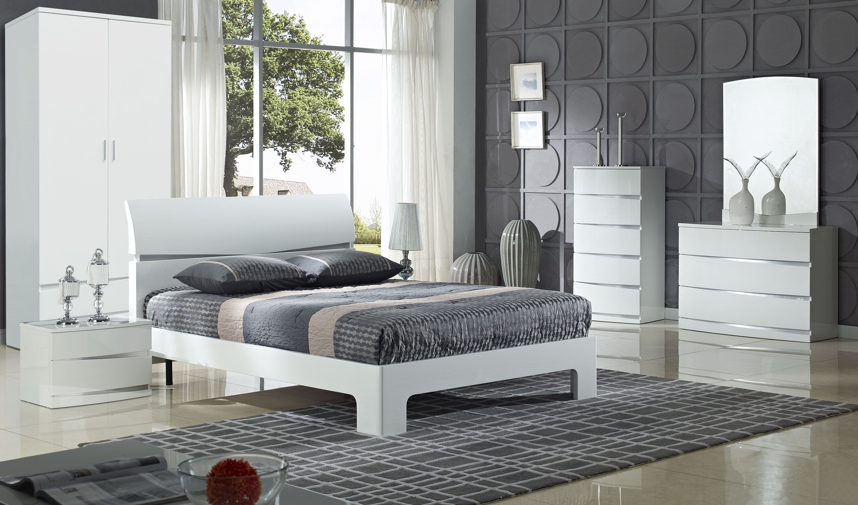 Bari High Gloss White Bedroom Furniture  White gloss bedroom