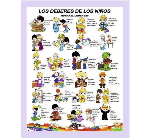 Deberes De Los Ninos Jpg 600 553 Deberes De Los Ninos Ninos En La Escuela Responsabilidad Para Ninos