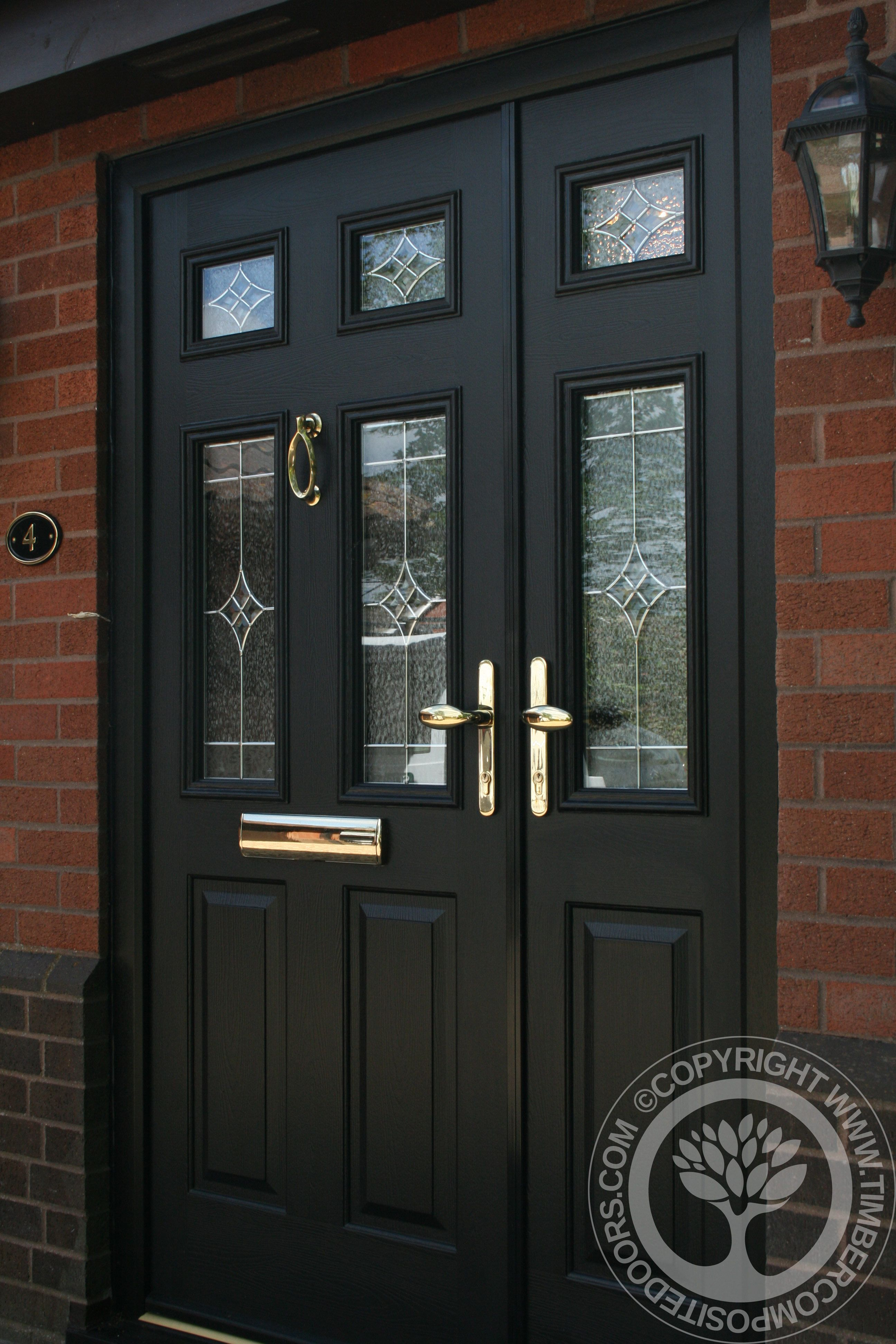 Solidor tenby composite door in black with matching frames for Garage side door and frame