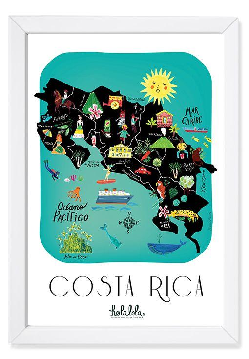Costa Rica Map Art Print Costa Rica Map Costa Rica Map Art Print