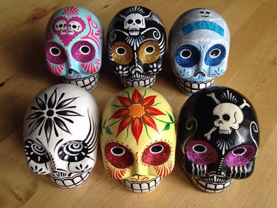 Reduced Your Choice Hand Painted Ceramic Sugar Skulls Day Of The Dead Dia De Los Muertos Decor From Temple Adorn In 2020 Ceramic Painting Sugar Skull Sugar Skull Art
