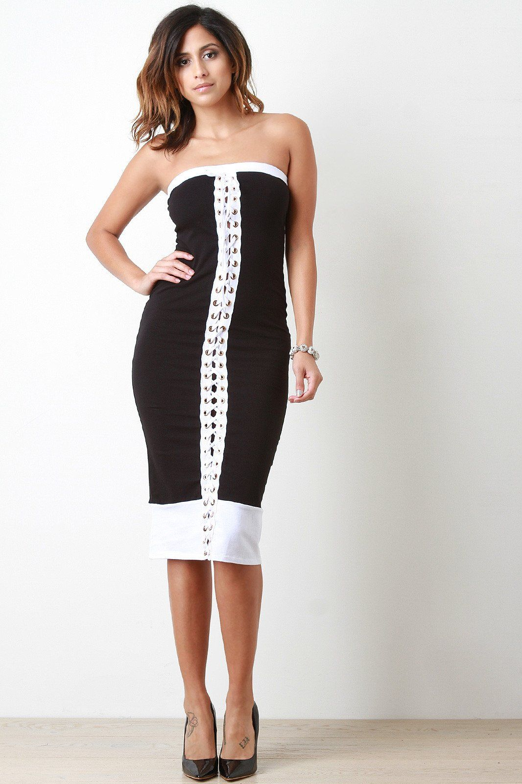 Lace short dress styles in nigeria  Grommets Corset Lace Up Strapless Midi Dress  Products  Pinterest