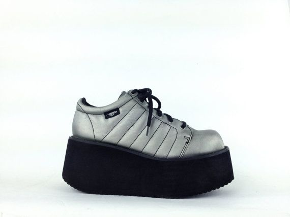 90's Silver Mega Platform Wedge Futuristic Lace Up Sneakers