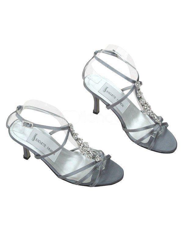 Grey White Satin Rhinestone Wedding Sandals Wedding Shoes