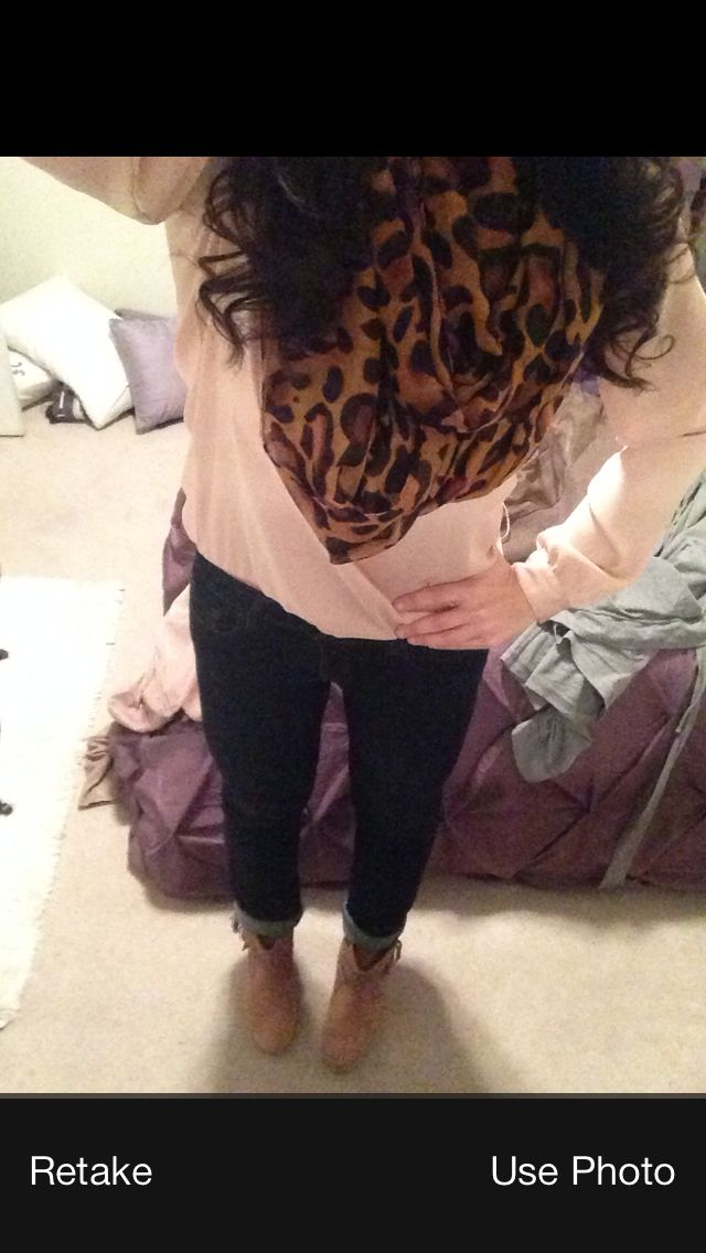 First pin of myself. Cheetah scarf, rolled jeans, fringe booties
