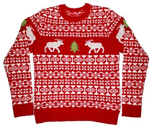 Amazon.com: Ugly Christmas Sweater - Holiday Reindeer Pullover Sweater by Skedouche: Clothing