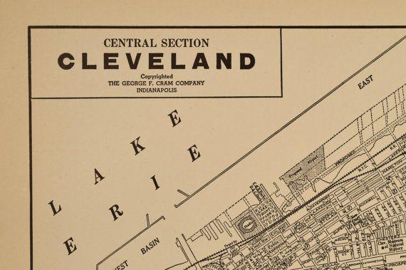 Cleveland Map Cleveland Street Map Vintage 1930s Original Vintage
