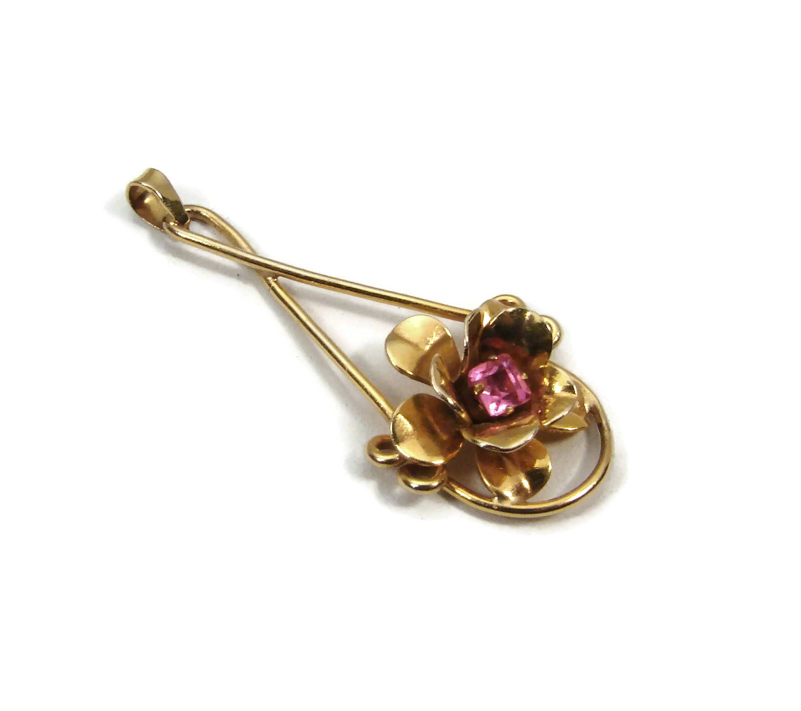 Vintage 10K Gold Flower Pendant Simulated Ruby 1940s Jewelry
